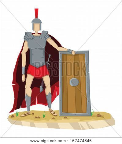 Digital vector tall roman legionnaire with armor, sword and a shield, isolated on white, cartoon flat style