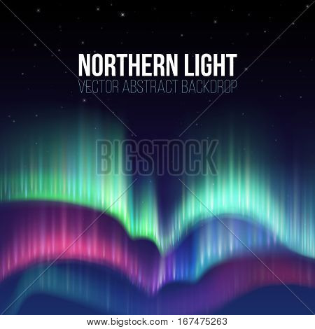 Winter sky with polar lights vector background. Nature phenomenon aurora borealis, illustration of polar light night