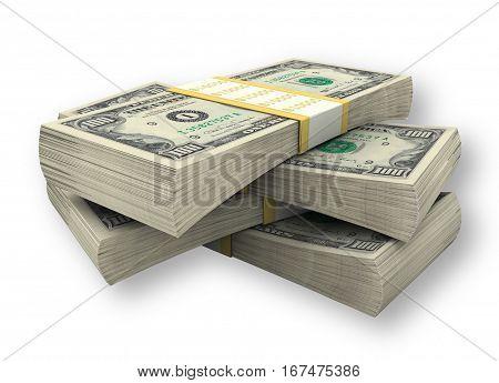 4 Stacks of dollars.  American Dollar. 3d Illustration