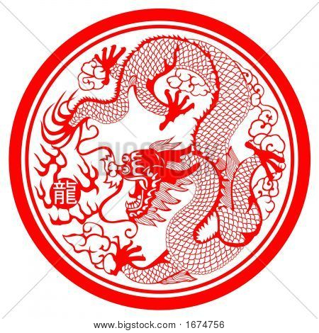 Red Dragon in Chinese Paper Cutting Style poster