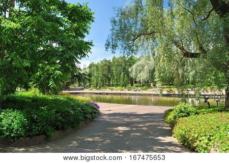 Kotka Finland.Very beautiful park Sapokka in a sunny summer day