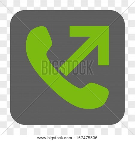 Outgoing Call interface toolbar button. Vector icon style is a flat symbol inside a rounded square button light green and gray colors chess transparent background.