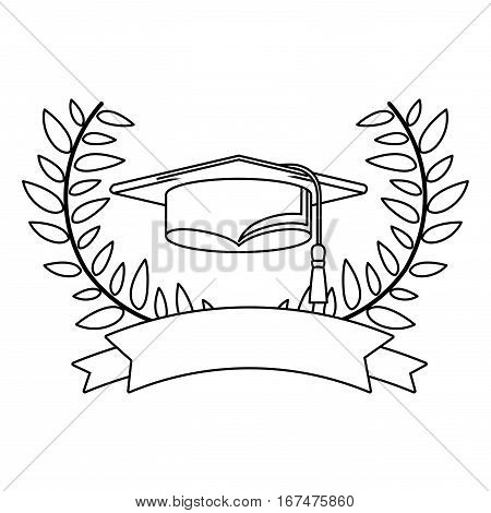 monochrome contour with crown branches with leaves with ribbon and graduation cap vector illustration