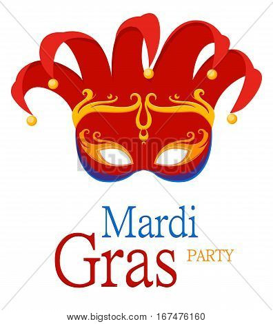 Mardi Gras Jester's red carnival mask with ornaments for poster greeting card party invitation banner or flyer on white background. EPS10. Vector Illustration.