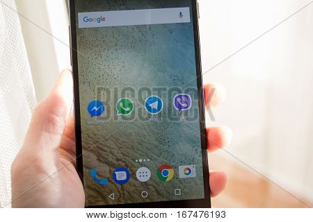 Moscow Russia - January 30 2017: Social network applications on Nexus smartphone display.