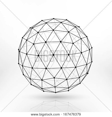 Wireframe polygonal sphere, network lines abstract fractal vector design. Sphere polygon structure, illustration of polygonal sphere