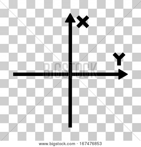Cartesian Axes vector pictograph. Illustration style is flat iconic black symbol on a transparent background.