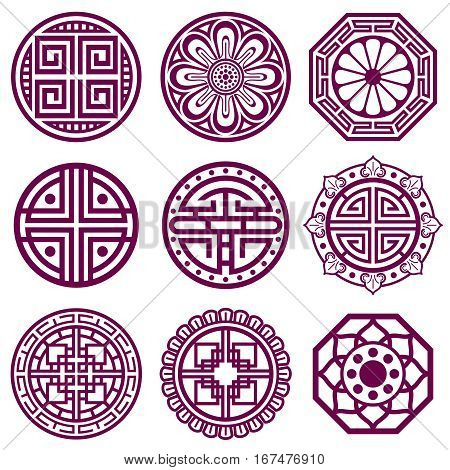 Korean ornament, asian traditional vector symbols, bathroom pattern. Round elements in traditional korean style, illustration of korean tattoo