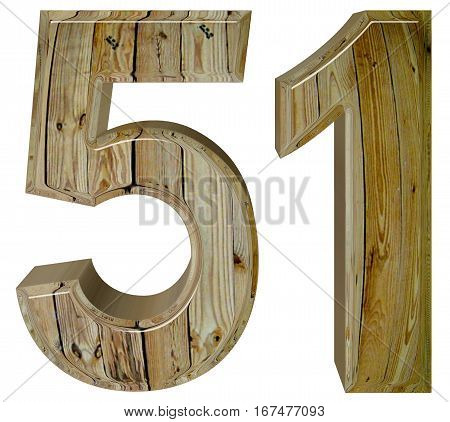 Numeral 51, Fifty One, Isolated On White Background, 3D Render