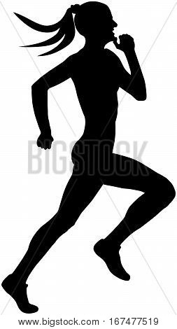 black silhouette female runner athlete running a sprint
