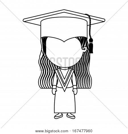 monochrome contour girl with graduation outfit vector illustration