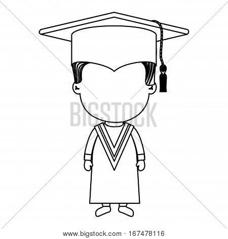 monochrome contour boy with graduation outfit vector illustration