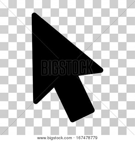 Mouse Pointer vector icon. Illustration style is flat iconic black symbol on a transparent background.