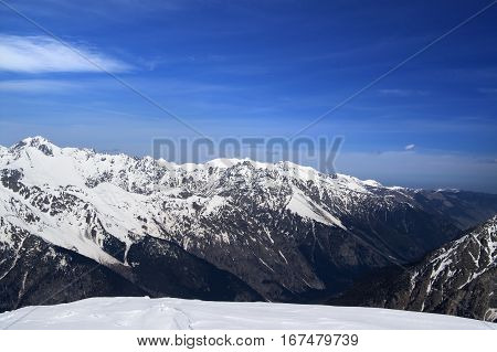 View On Winter Mountains From Off-piste Ski Slope