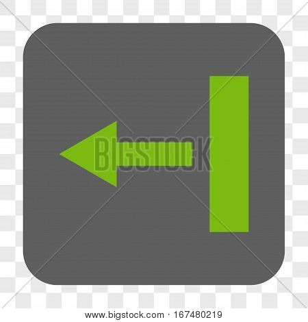 Pull Left interface toolbar button. Vector icon style is a flat symbol inside a rounded square button light green and gray colors chess transparent background.
