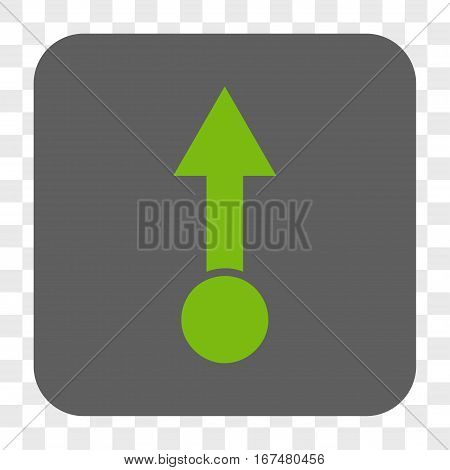 Pull Up interface toolbar button. Vector icon style is a flat symbol inside a rounded square button light green and gray colors chess transparent background.