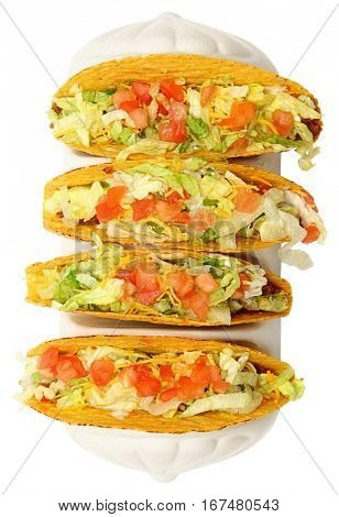 Set of Four Beef Tacos Over White High Angle View