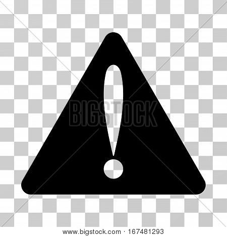 Warning Error vector pictograph. Illustration style is flat iconic black symbol on a transparent background.