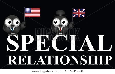 Representation of the USA UK special relationship isolated on black background