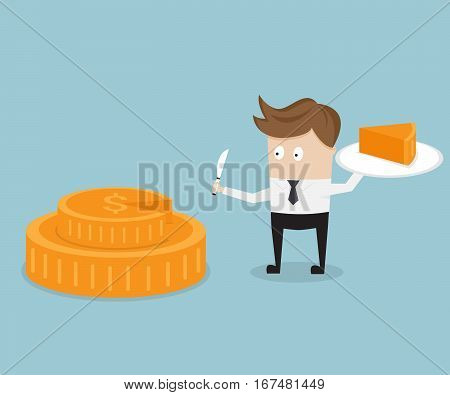 businessman and piece of cake from money coin business share concept vector illustration