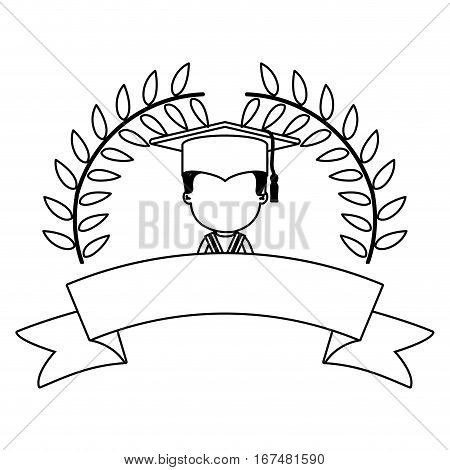 monochrome contour with branches with leaves and ribbon with boy graduation outfit vector illustration