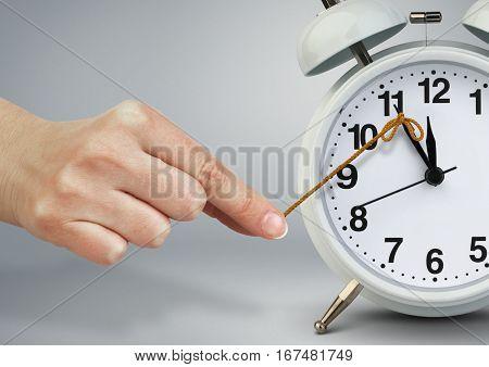 Hand stop clock , time management concept