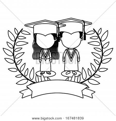 monochrome contour with branches with leaves with couple of children graduation outfit vector illustration