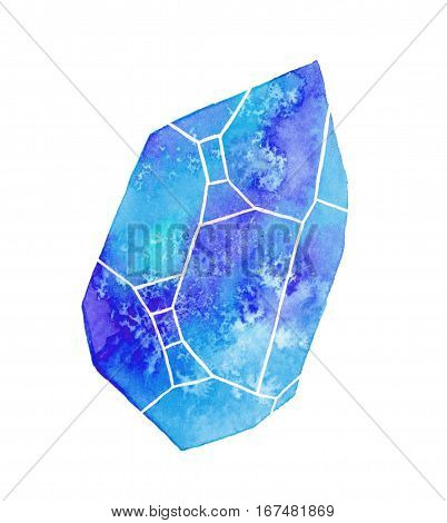 Gem or crystal. Hand-drawn blue gemstone on the white background - saphire. Real watercolor illustration