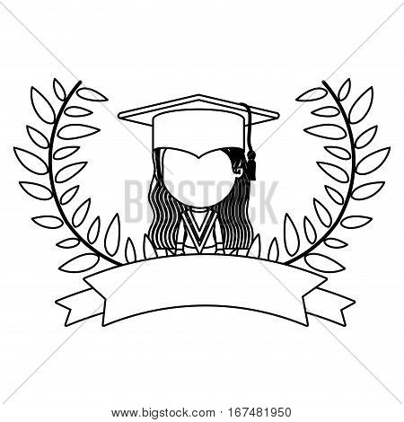 monochrome contour with branches with leaves and ribbon with girl graduation outfit vector illustration