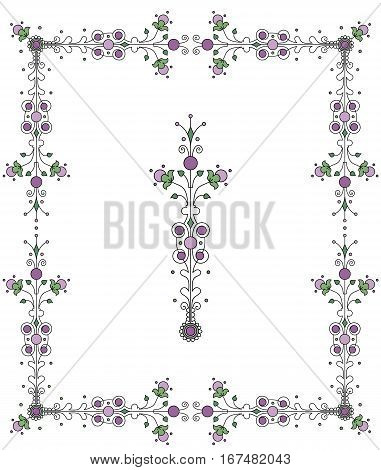 Frilly border design with decorative element. Fanciful pixie land style.