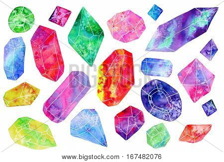 Set of gems or crystals. Hand-drawn gemstones on the white background. Real watercolor illustration