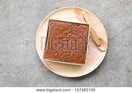 Mung Bean Thai custard dessert recipe or Khanom Maw Kaeng on wood dish