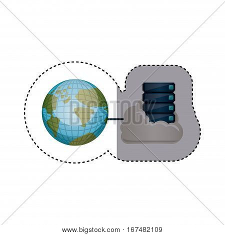 sticker with file cabinet into the cloud and earth world map vector illustration