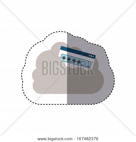sticker Password text box into the cloud vector illustration