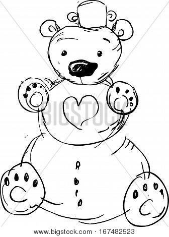 cute snowman bear - vector illustration black