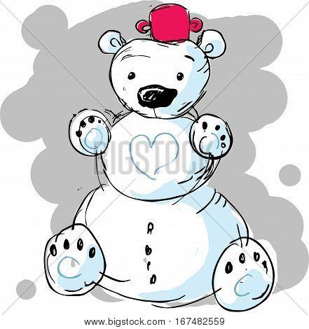 cute snowman bear - vector illustration cartoon