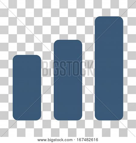Bar Chart Increase vector pictograph. Illustration style is flat iconic blue symbol on a transparent background.