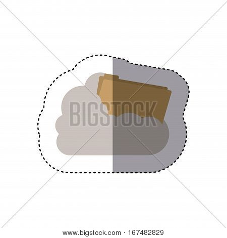 sticker folder into the cumulus cloud vector illustration
