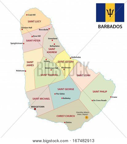 Barbados administrative and political vector map with flag