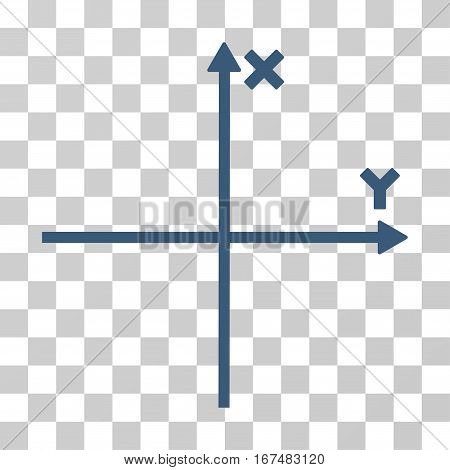 Cartesian Axes vector pictogram. Illustration style is flat iconic blue symbol on a transparent background.