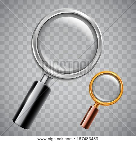 Silver and golden magnifying glass on transparent background