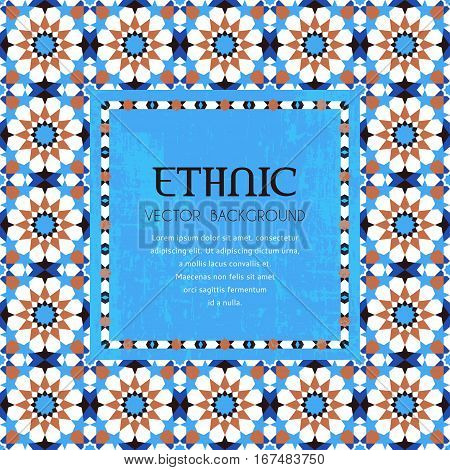 Traditional arabic style mosaic frame ehnic background