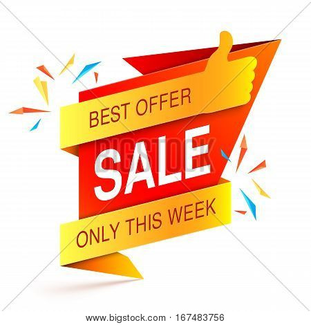 Colorful sale event banner on white background