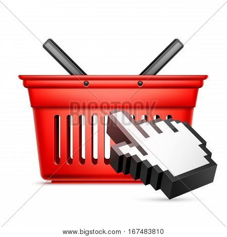 Red shopping cart and computer hand cursor. Online shopping or e-commerce concept