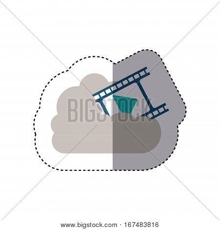 sticker filmstrip with play buttom into the cloud . Vector illustration