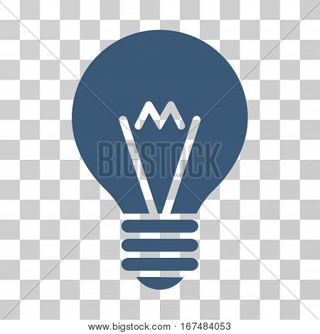 Hint Bulb vector icon. Illustration style is flat iconic blue symbol on a transparent background.