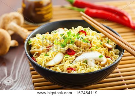 Asian meal made of instant noodles and shiitake mushrooms traditional oriental food