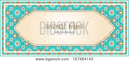 Oriental mosaic frame; traditional background in arabic style