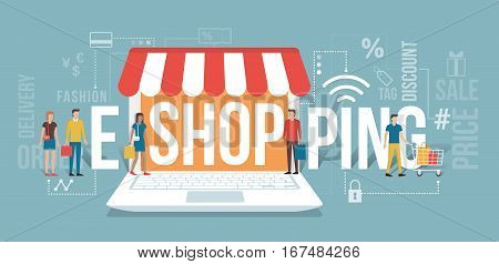 People entering a virtual shop holding shopping bags: e-shopping and e-commerce concept with icons and words