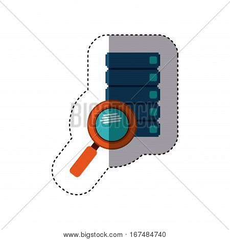 sticker file cabinets with magnifying glass with with glitters vector illustration